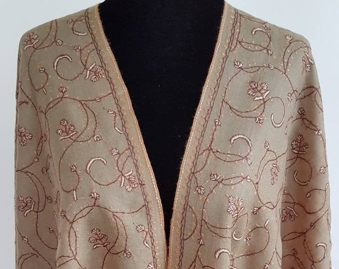Floral Embriodery Scarf - Light Brown