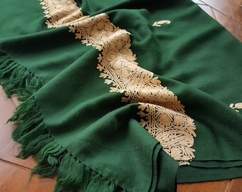 Sophie Paisley Scarf - Emerald Green and Peach