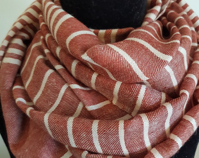 Luxurious Handloom Cashmere Scarf -  Brick White Awning Stripe