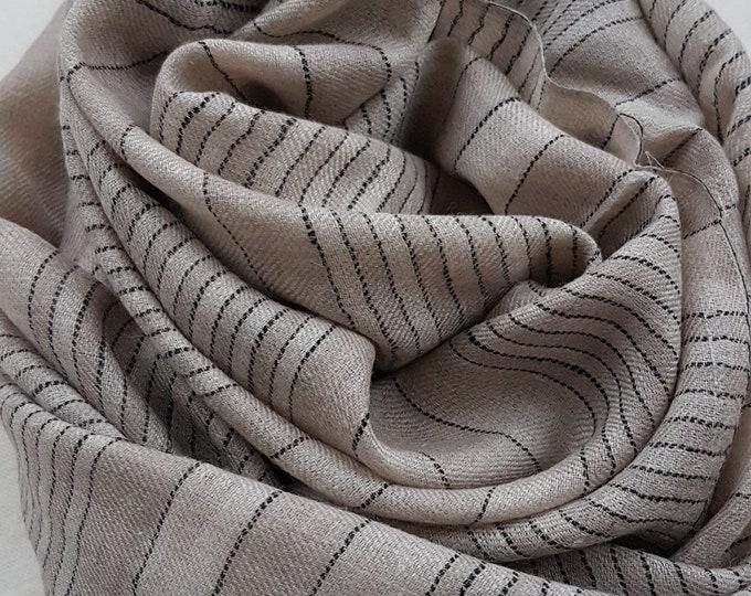 Awning Stripe Handloom Cashmere Scarf - Beige Grey Stripe