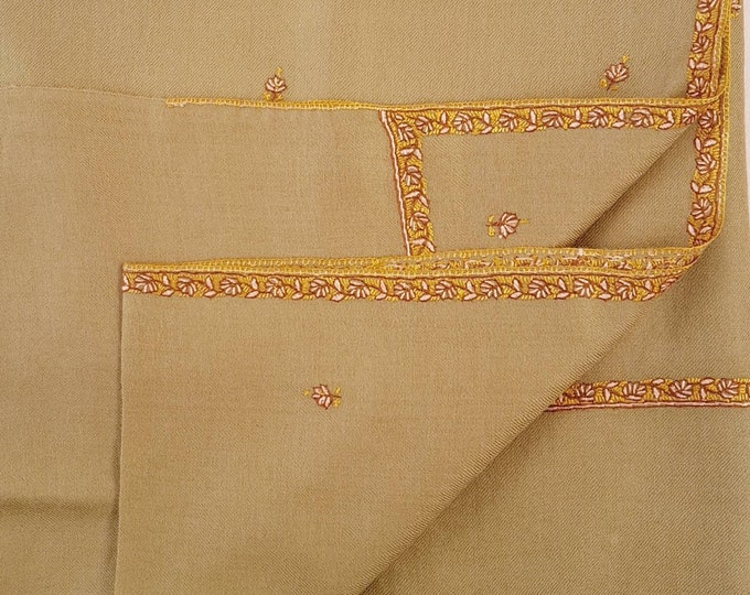 The Regal Motif Shawl - Light Brown