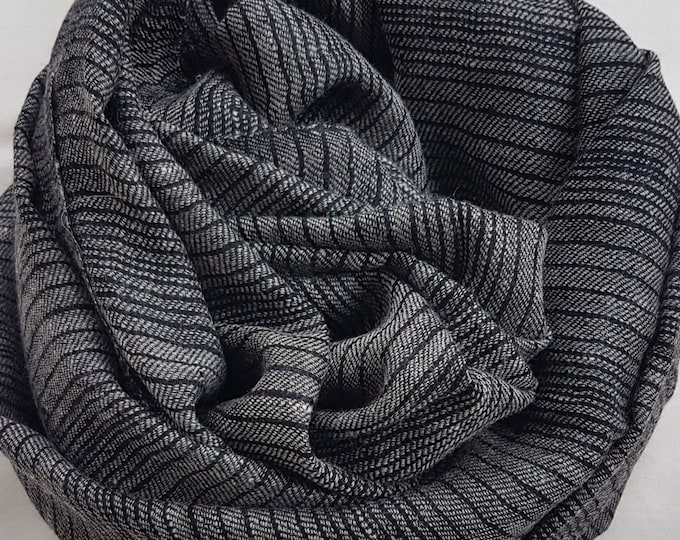 Stripes Handloom Cashmere Scarf - Grey