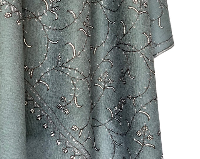 Almond Floral Embroidery Scarf - Teal Grey
