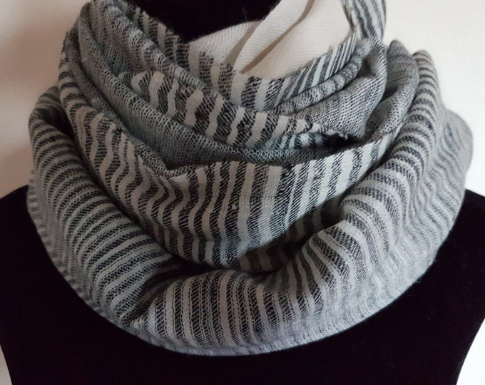 Zebra Stripe Handloom Cashmere Scarf - Black and Antique White