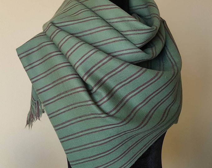 Hand Dyed Pure Wool Awning Stripe Scarf - Green & Mulberry