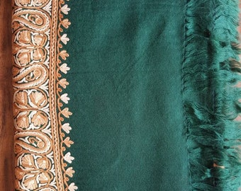 Sophie Paisley Scarf - Pine Green and Brown