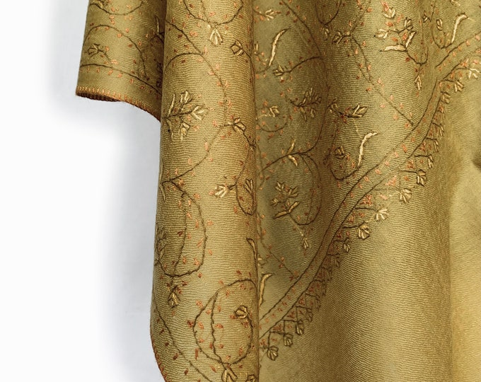 Floral Embroidery Scarf - Light Mustard