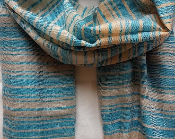 Luxurious Handloom Cashmere Scarf - Sea Blue Grey