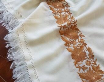 Floral Vine Scarf - Closet White