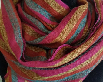 Luxurious Handloom Cashmere Scarf - Purple Medley Awning Stripe