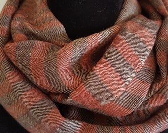 Luxurious Handloom Cashmere Scarf -  Chocolate Brick Awning Stripe