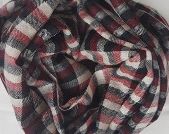 Gingham Handloom Cashmere Scarf - Red & Black