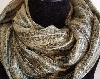 Luxurious Handloom Cashmere Scarf -  Olive Grey Awning Stripe