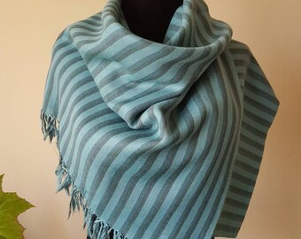 Hand Dyed Pure Wool Awning Stripe Scarf