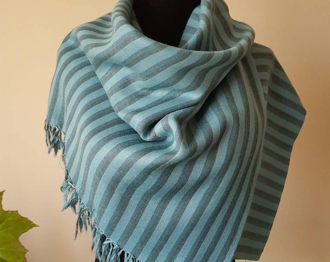 Hand Dyed Pure Wool Awning Stripe Scarf - Brown