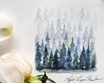 Stacks of Pines, Original Watercolor Painting, Framed Artwork, Ready to Hang Artwork