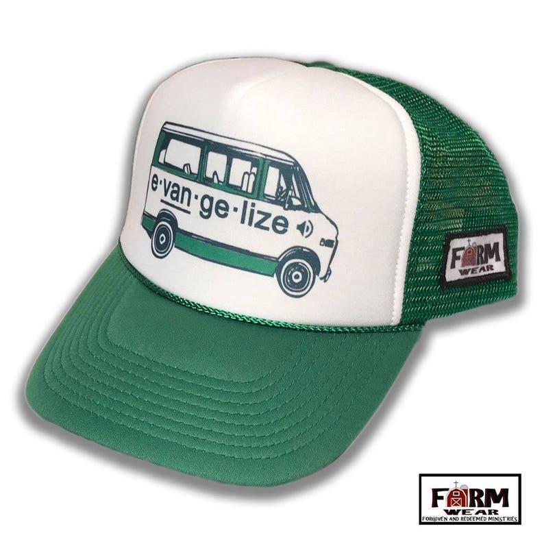 a2a9e4b85 Evangelize Trucker Hat Vintage Style Christian Cap by Farm | Etsy