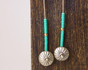 beaded sterling silver sunburst earrings