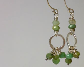 chrysoprase and sterling silver earrings