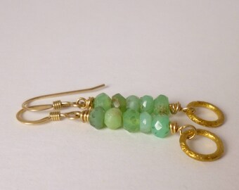 chrysoprase and gold earrings