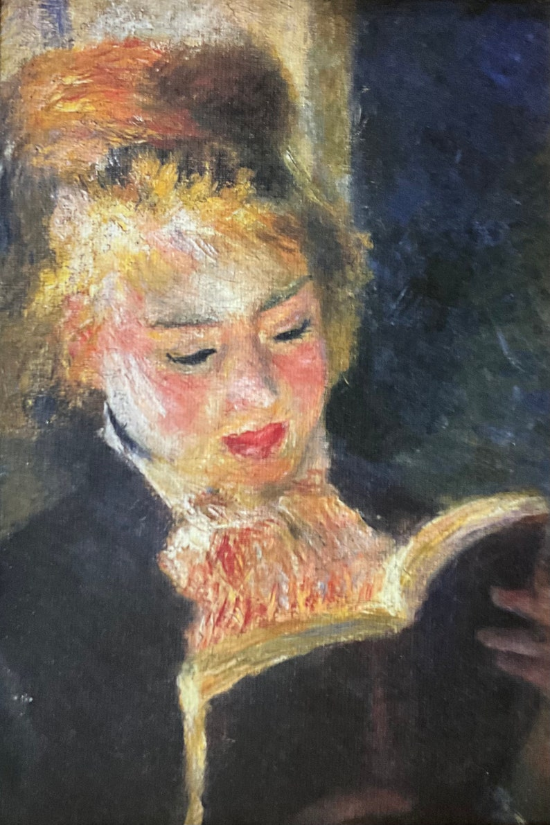 The reader with certificate Auguste Renoir Rare Lithograph on canvas cm 26x21 limited edition