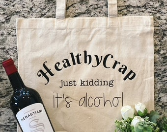 Book Bag Canvas Bag Wine Lover Tote Just A Touch of Alcoholism Wine Lover Gifts Reusable Shopping Bag Wine Lover Canvas  Bag