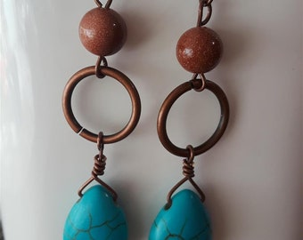 Goldstone, Copper, and Turquoise Dangle Earrings