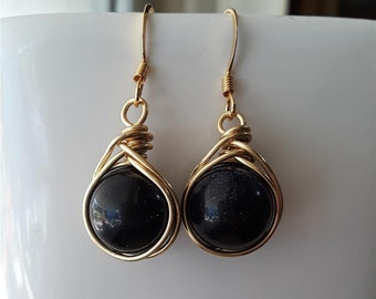 Gold Wire Wrapped Blue Goldstone Earrings