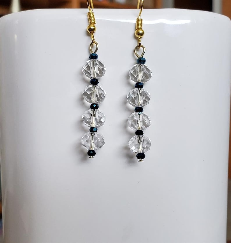 Tiny Royal Blue and Medium Clear Faceted Glass Bead Dangling Earrings