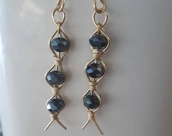 Golden Wire Wrapped, Blue Rondelle Earrings