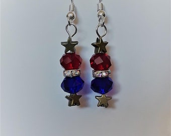 Red, White, Blue, and Stars Earrings