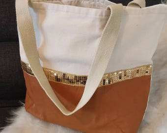 Faux leather and sequins, cotton canvas tote bag