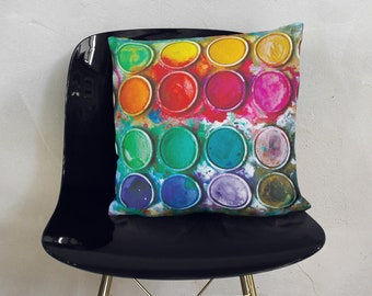 Pillow Cover Pillow Case Colorful Pillow Cover Paints Print Gift For Painter Home Decor Housewarming Gift Bright Print Cute Pillow CG4014