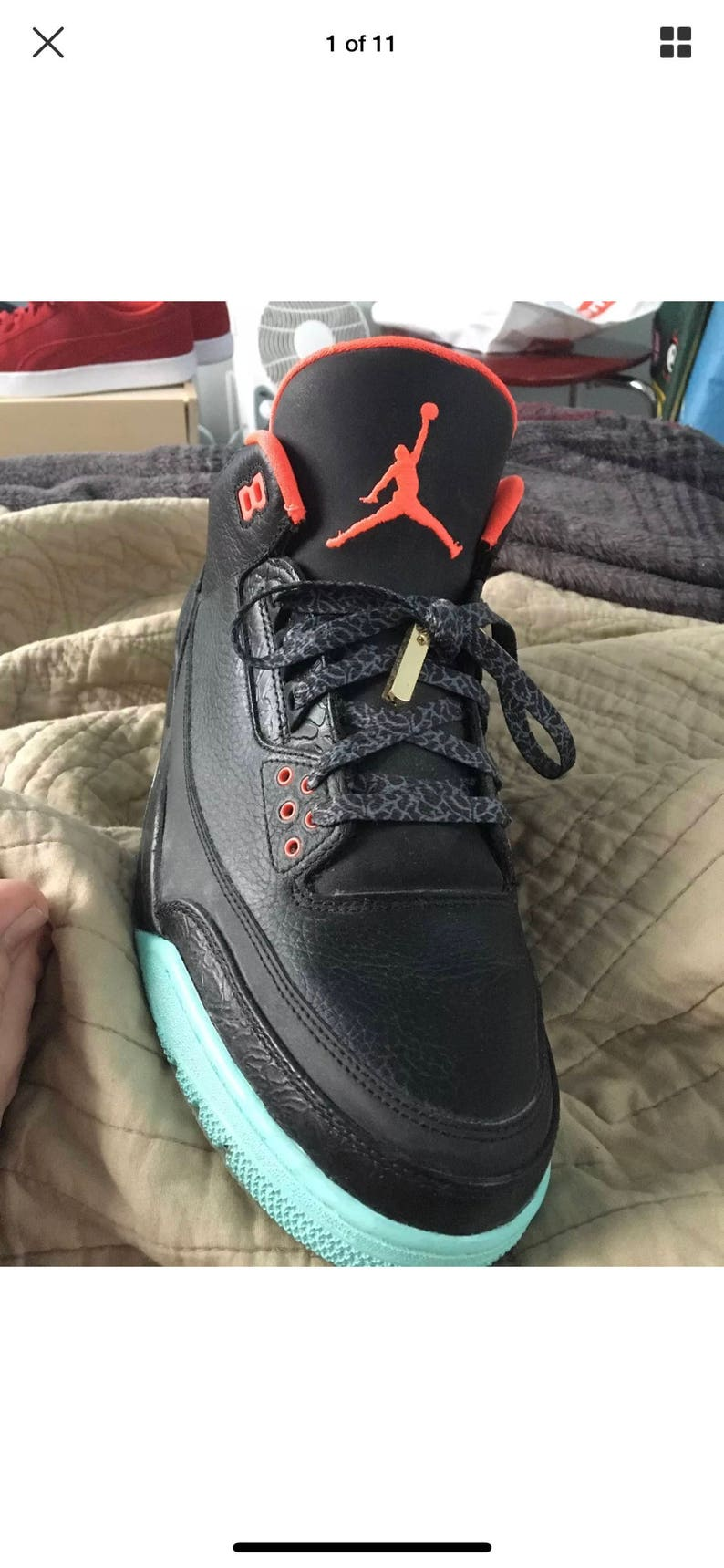 "low priced 02272 8f076 Jordan 3 ""yeezy solar red"" custom"