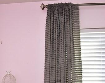 84u0027u0027 Gray Ruffle Curtain Panel   Extra Wide Drapery Panel