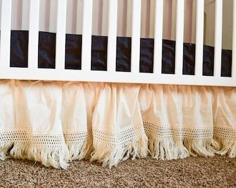 Fringe Natural Crib Skirt Baby Bedding Nursery Decor Infant Bedskirt, Cream Bedskirt