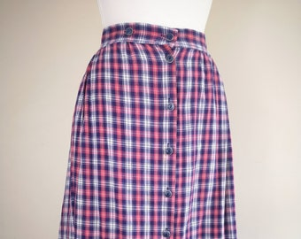 72407e33c 80s Vintage Check Button Through Midi Skirt. UK 14-16. Pockets. Pink.  Purple.