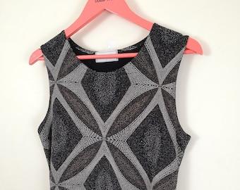 d46fd1aa300a4 90s Vintage Vest Top. Black. Metallic Thread. Geometric. Rave. Festival. UK  14