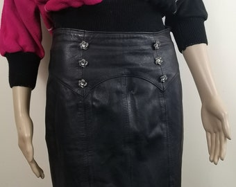 5c4834ce52 90s Black Leather Skirt. Lace Underskirt. Straight. knee length. UK 8