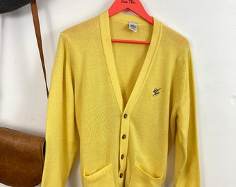 L Vintage 80s Mens Cardigan Grey Retro Aztec Stripe Grandad Sweater Geek D64