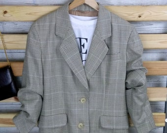 Vintage Aquascutum Women's  Boyfriend Blazer. Checked. Plaid. UK 16. Pure new wool. Beige. Pastel Blue