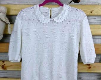 Vintage Knitted Polo Shirt. Lace Peter Pan collar. Short sleeves. Size 10-12. Made in England