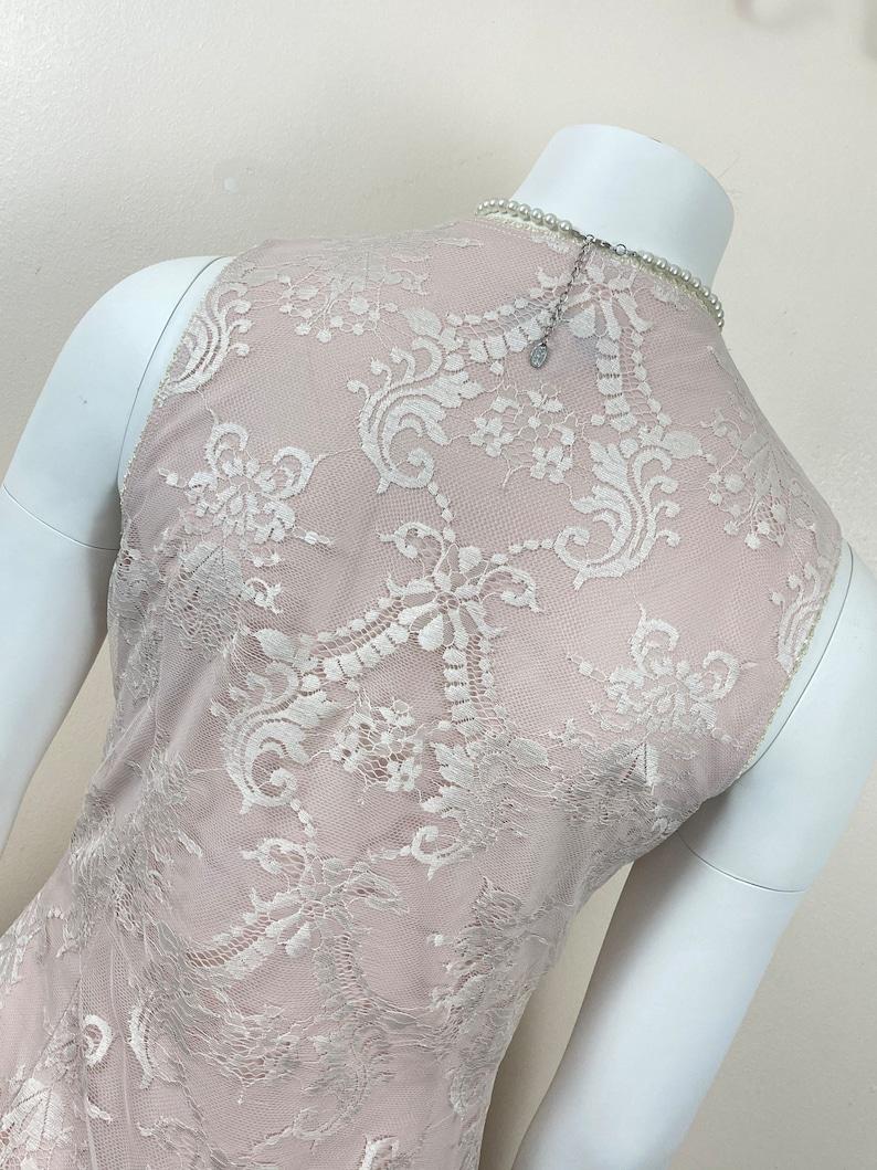 White UK 12. Natural 90s Vintage Lace Slip Dress
