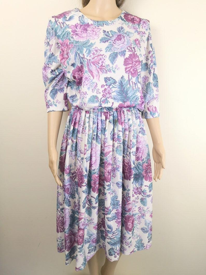 80s Vintage Wallpaper Print Dress Blouson Knee Length Rose Etsy