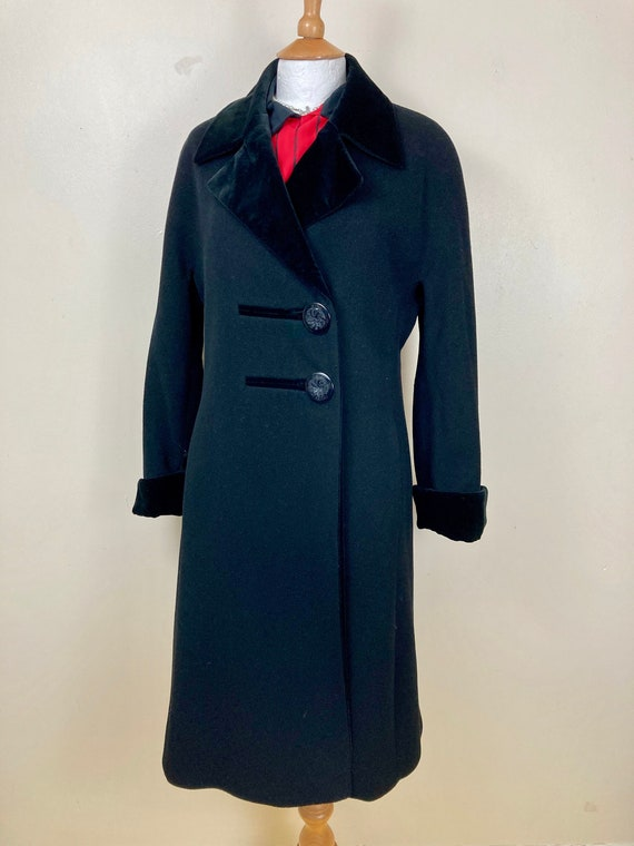 Vintage Black Wool Pea Coat. Duster. Velvet Collar