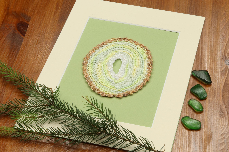 Agate slice Pastel druzy agate Crocheted agate stone Fiber | Etsy