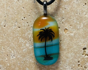 Tropical Palm Tree Fused Glass Pendant