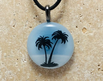Tropical Palm Tree Fused Glass Round Pendant