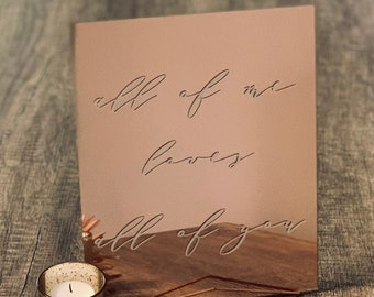 Rose Gold Acrylic Sign | Custom Acrylic Sign | Wedding Signs | Mirror Acrylic Sign | Acrylic Wedding Signs | Personalized Acrylic Sign