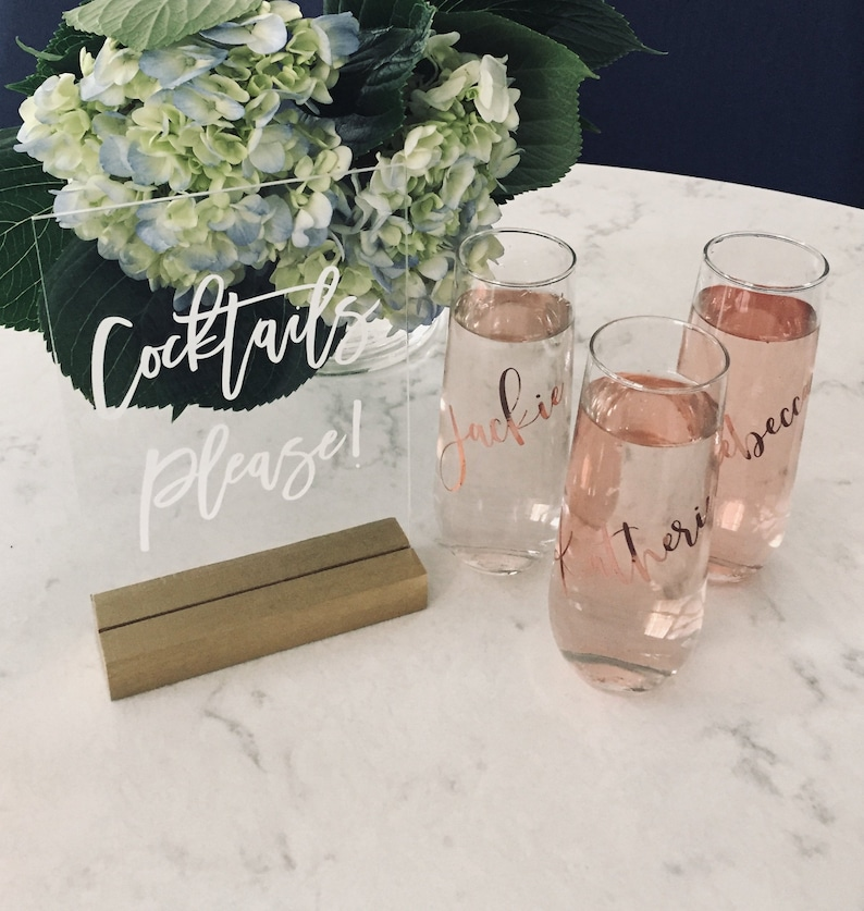 Bridesmaid Champagne Glasses  Bridesmaid Gift  Personalized image 0